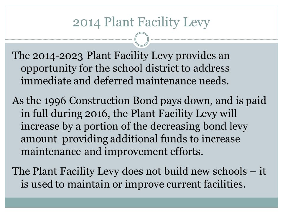 2014 Plant Facility Levy The 2014-2023 Plant Facility Levy provides an opportunity for the school district to address immediate and deferred maintenan