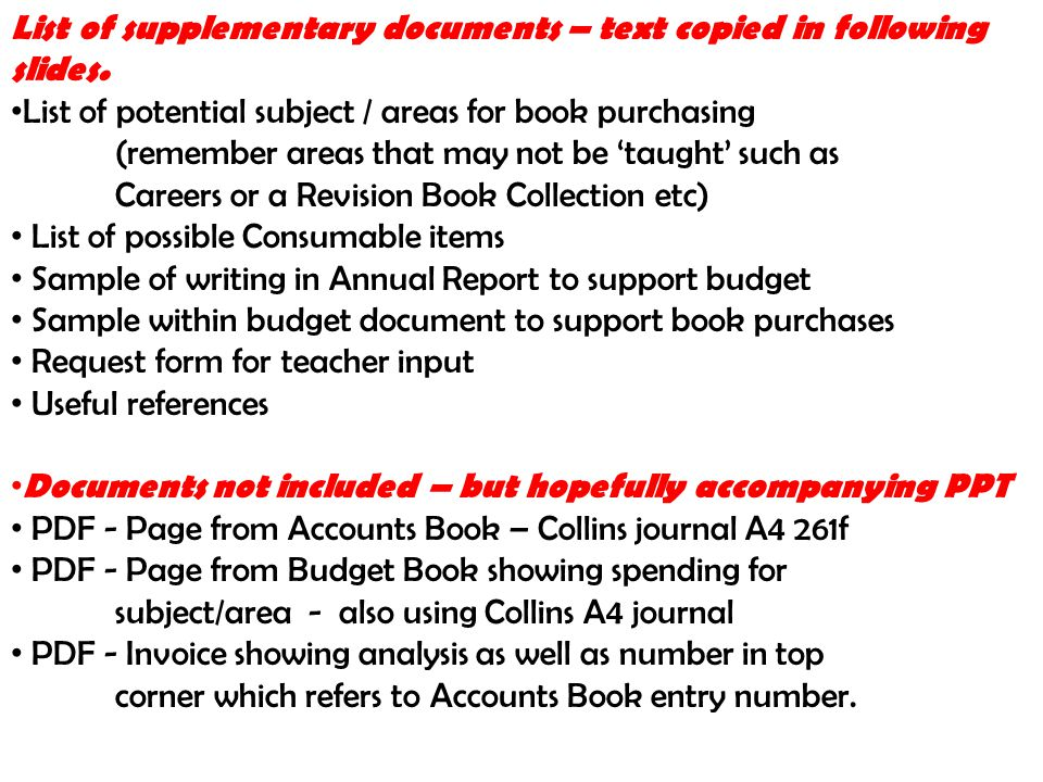 List of supplementary documents – text copied in following slides. List of potential subject / areas for book purchasing (remember areas that may not