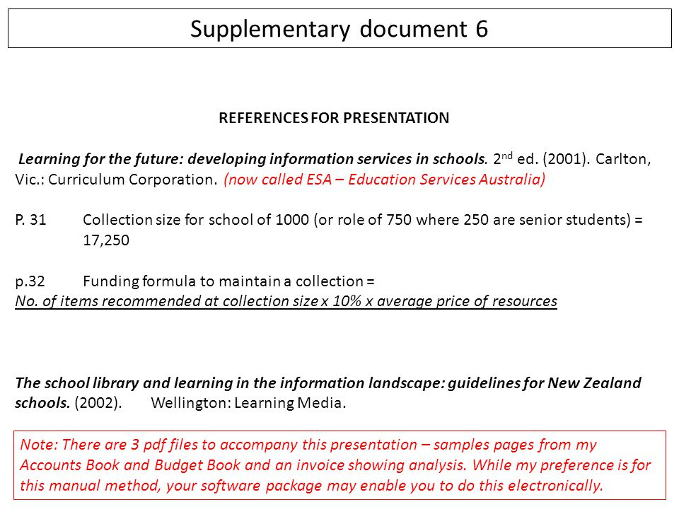 Supplementary document 6 REFERENCES FOR PRESENTATION Learning for the future: developing information services in schools. 2 nd ed. (2001). Carlton, Vi
