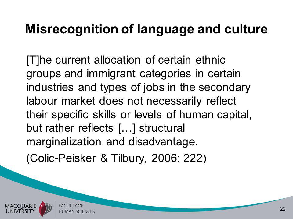 22 Misrecognition of language and culture [T]he current allocation of certain ethnic groups and immigrant categories in certain industries and types of jobs in the secondary labour market does not necessarily reflect their specific skills or levels of human capital, but rather reflects […] structural marginalization and disadvantage.