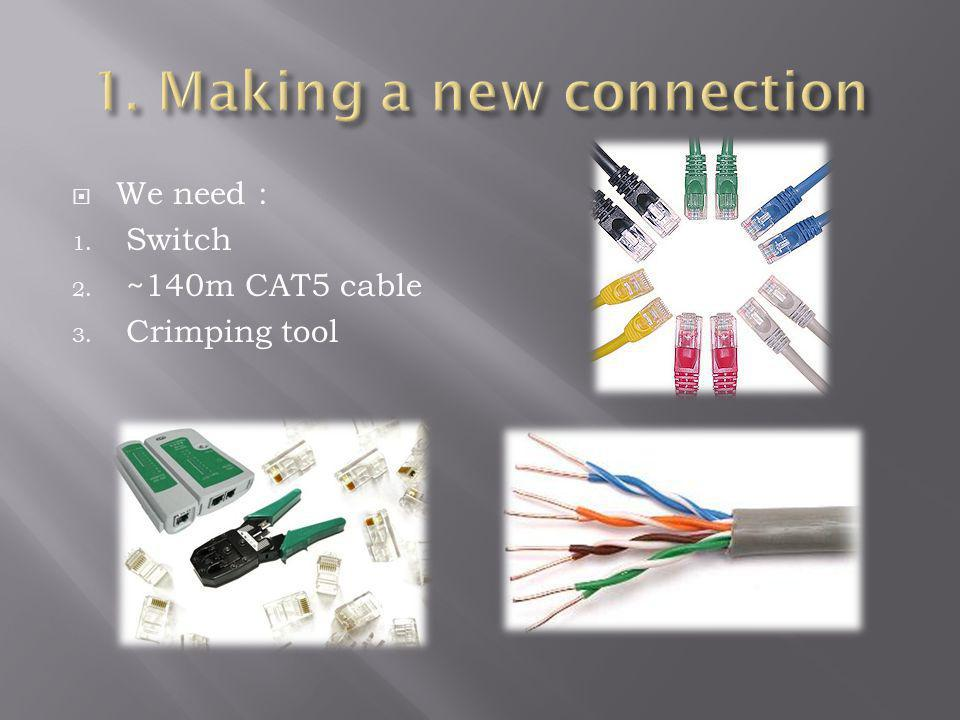 We need : 1. Switch 2. ~140m CAT5 cable 3. Crimping tool