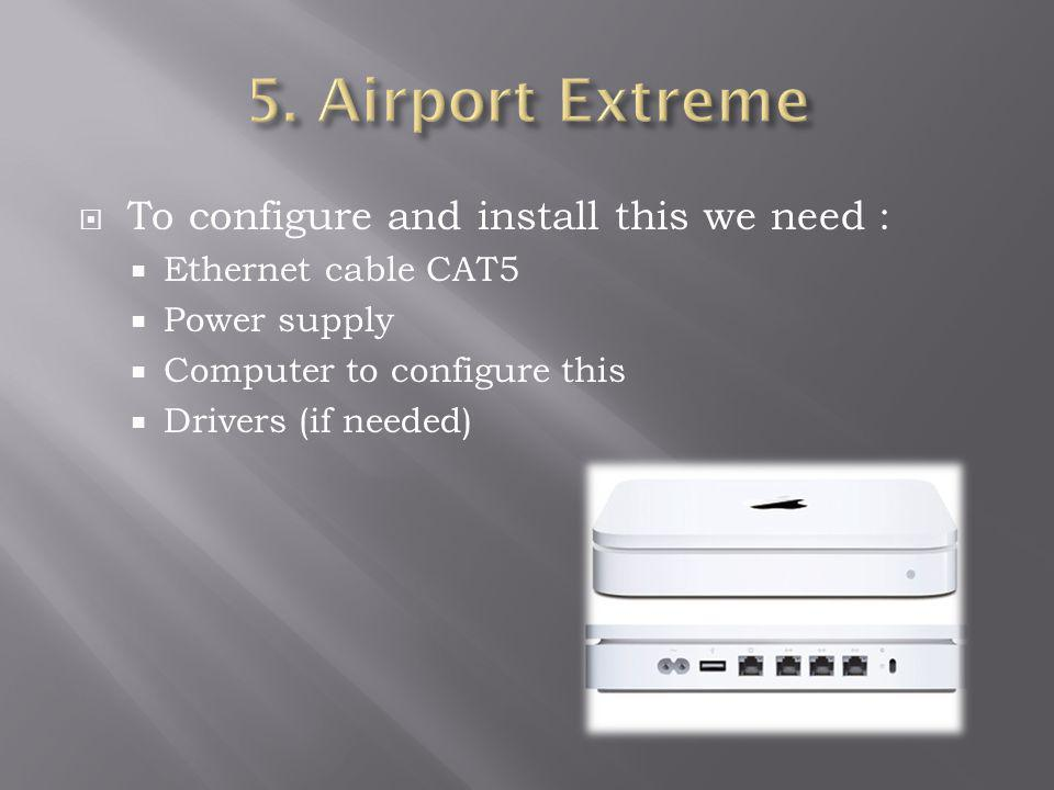 To configure and install this we need : Ethernet cable CAT5 Power supply Computer to configure this Drivers (if needed)