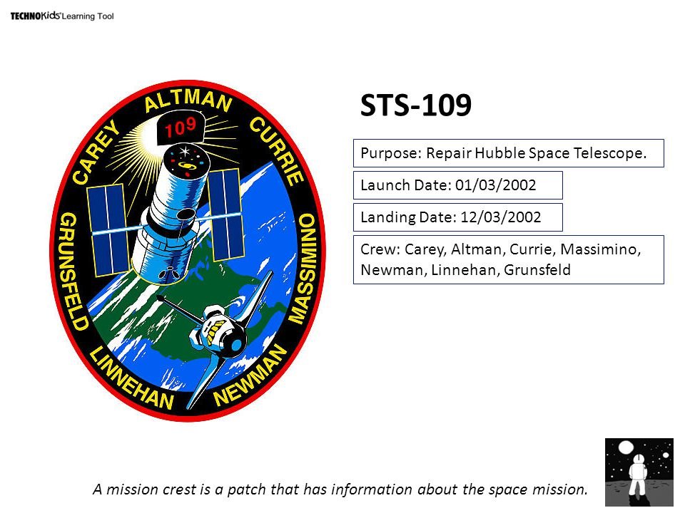 STS-109 Purpose: Repair Hubble Space Telescope.