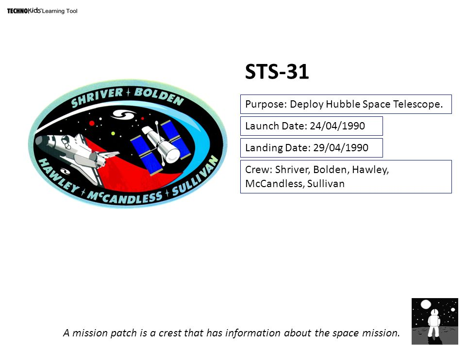 STS-31 Purpose: Deploy Hubble Space Telescope.