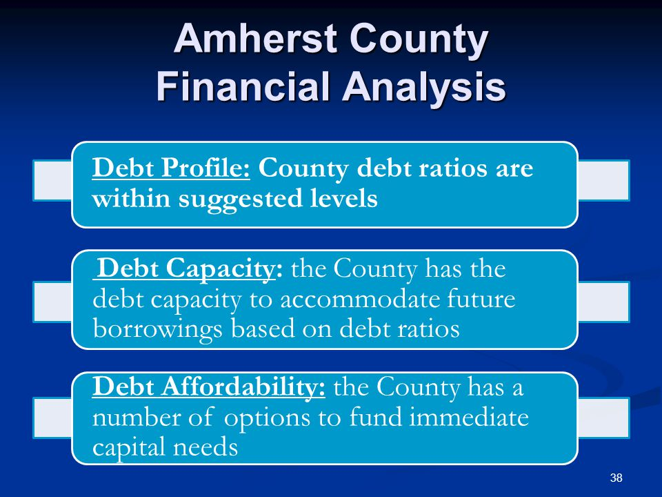 Amherst County Financial Analysis Debt Profile: County debt ratios are within suggested levels Debt Capacity: the County has the debt capacity to accommodate future borrowings based on debt ratios Debt Affordability: the County has a number of options to fund immediate capital needs 38