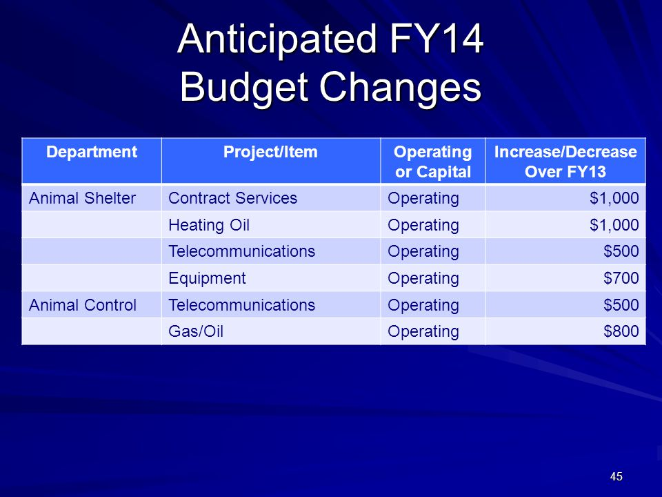45 Anticipated FY14 Budget Changes DepartmentProject/ItemOperating or Capital Increase/Decrease Over FY13 Animal ShelterContract ServicesOperating$1,0