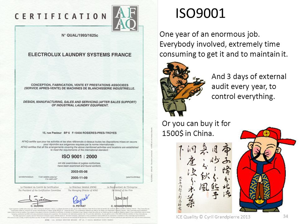ISO9001 ICE Quality © Cyril Grandpierre 2013 34 One year of an enormous job. Everybody involved, extremely time consuming to get it and to maintain it