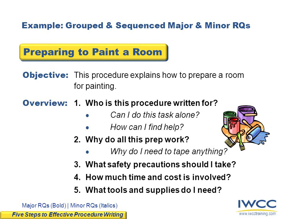 www.iwcctraining.com Objective: This procedure explains how to prepare a room for painting. Overview: 1.Who is this procedure written for? Can I do th