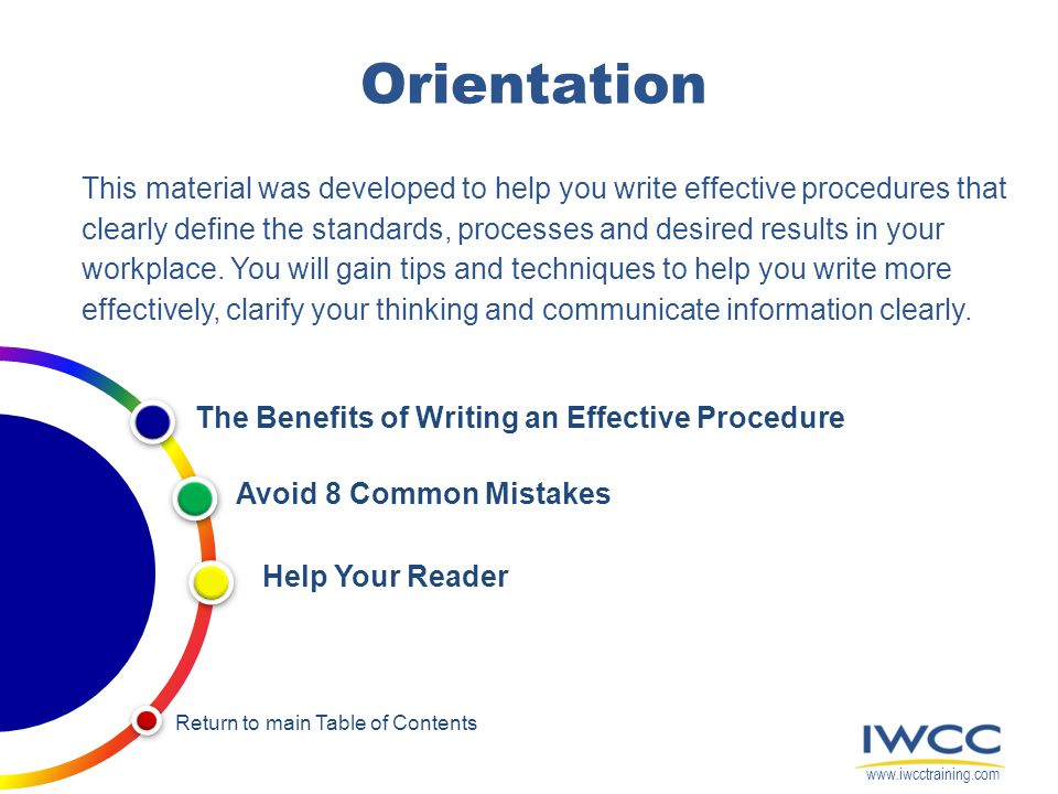 Orientation This material was developed to help you write effective procedures that clearly define the standards, processes and desired results in you