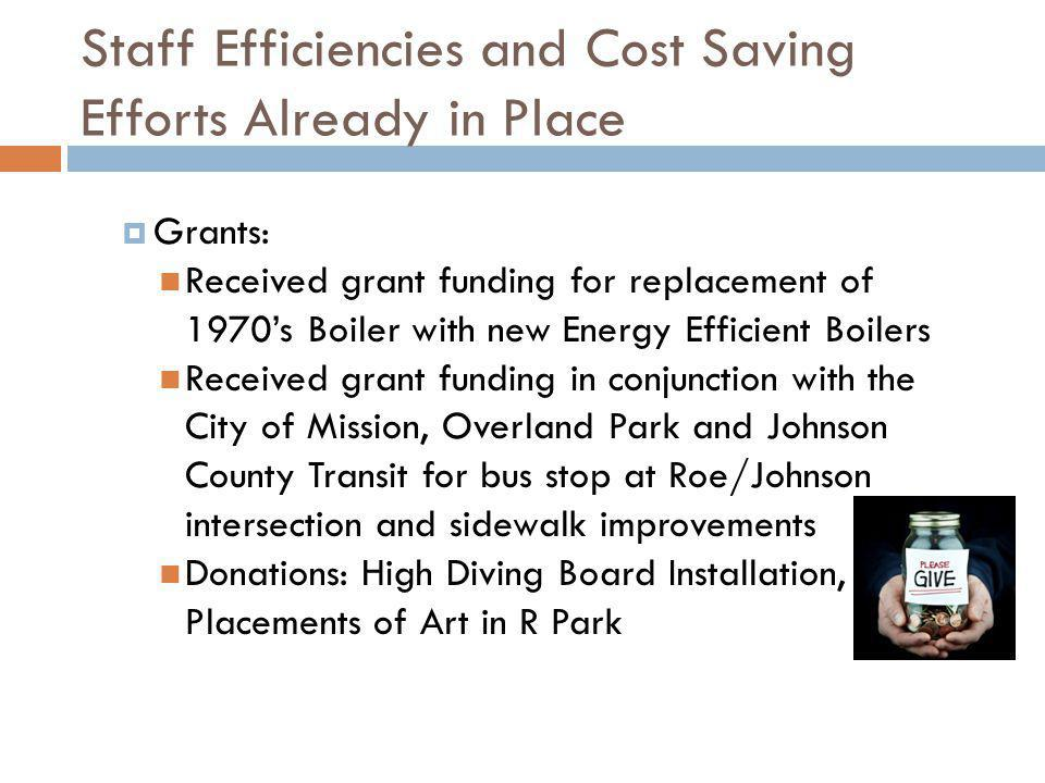 Staff Efficiencies and Cost Saving Efforts Already in Place Grants: Received grant funding for replacement of 1970s Boiler with new Energy Efficient B
