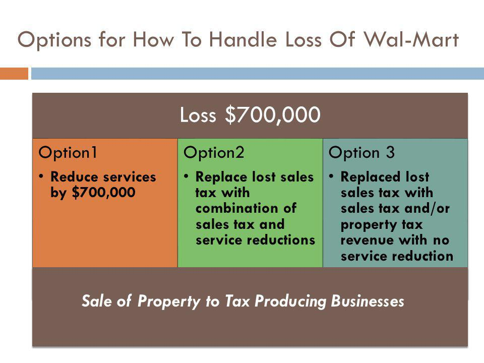 Options for How To Handle Loss Of Wal-Mart Loss $700,000 Option1 Reduce services by $700,000 Option2 Replace lost sales tax with combination of sales tax and service reductions Option 3 Replaced lost sales tax with sales tax and/or property tax revenue with no service reduction Sale of Property to Tax Producing Businesses