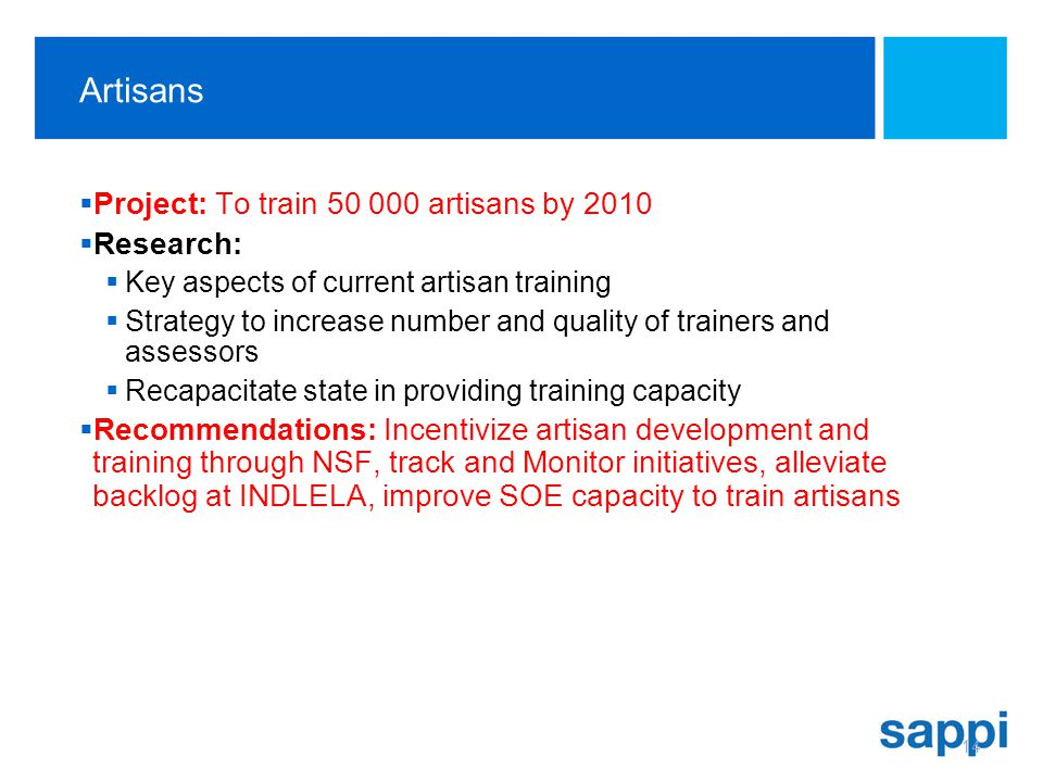 Artisans Project: To train 50 000 artisans by 2010 Research: Key aspects of current artisan training Strategy to increase number and quality of trainers and assessors Recapacitate state in providing training capacity Recommendations: Incentivize artisan development and training through NSF, track and Monitor initiatives, alleviate backlog at INDLELA, improve SOE capacity to train artisans 14
