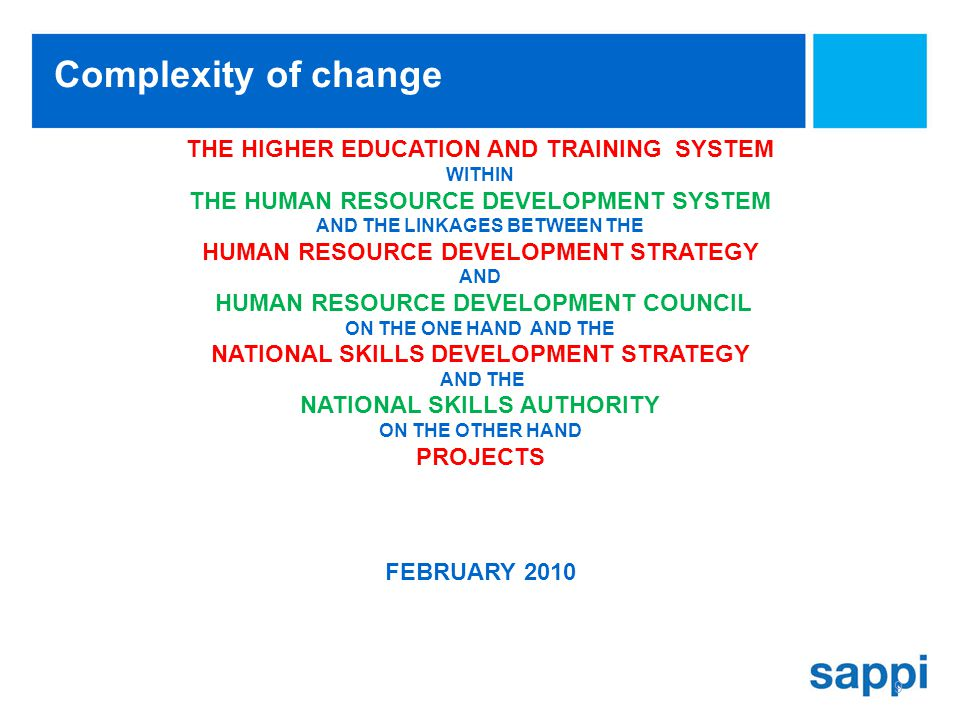 9 THE HIGHER EDUCATION AND TRAINING SYSTEM WITHIN THE HUMAN RESOURCE DEVELOPMENT SYSTEM AND THE LINKAGES BETWEEN THE HUMAN RESOURCE DEVELOPMENT STRATEGY AND HUMAN RESOURCE DEVELOPMENT COUNCIL ON THE ONE HAND AND THE NATIONAL SKILLS DEVELOPMENT STRATEGY AND THE NATIONAL SKILLS AUTHORITY ON THE OTHER HAND PROJECTS FEBRUARY 2010 Complexity of change