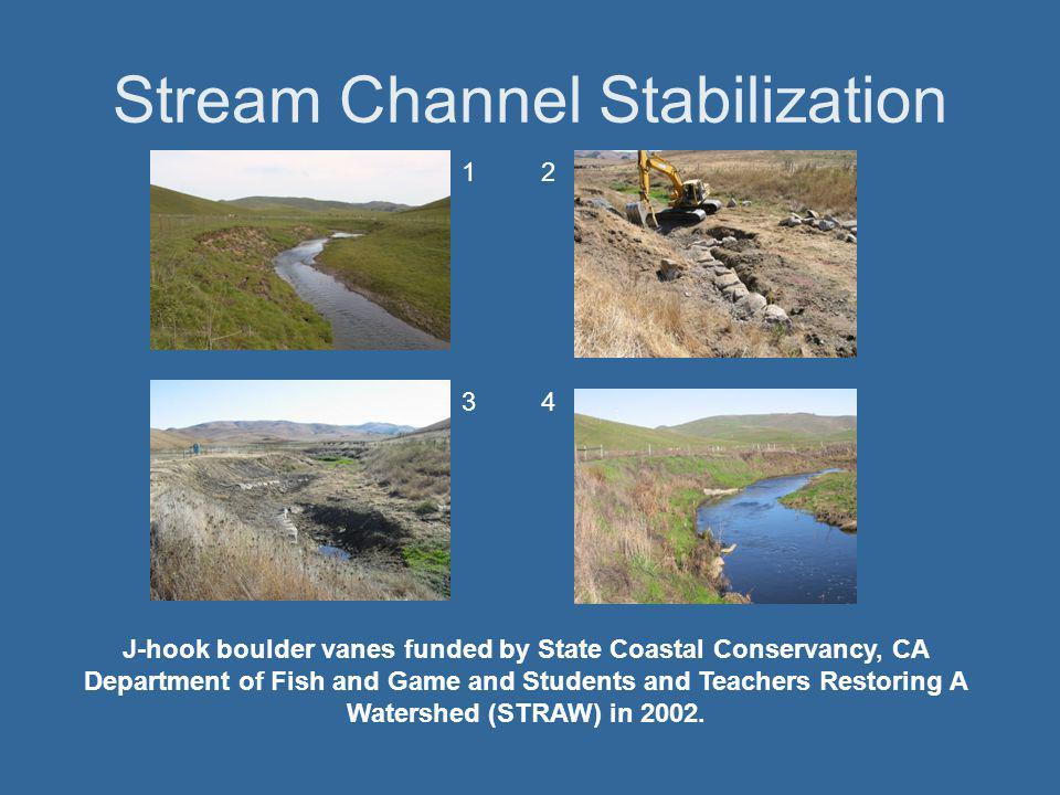 Stream Channel Stabilization 12 34 J-hook boulder vanes funded by State Coastal Conservancy, CA Department of Fish and Game and Students and Teachers Restoring A Watershed (STRAW) in 2002.