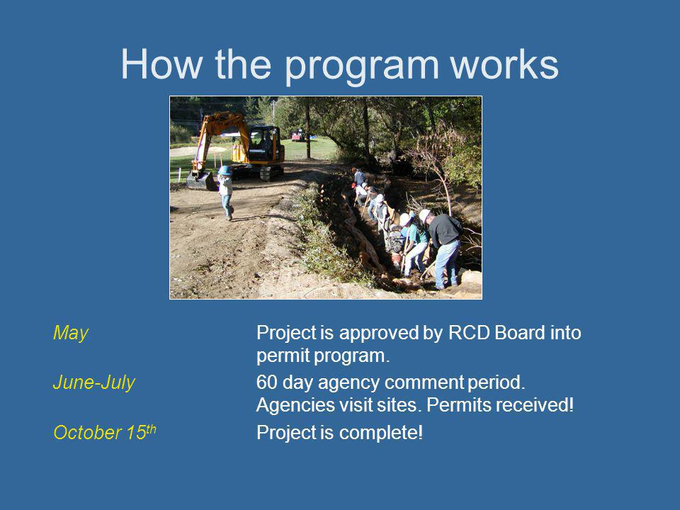 How the program works MayProject is approved by RCD Board into permit program.