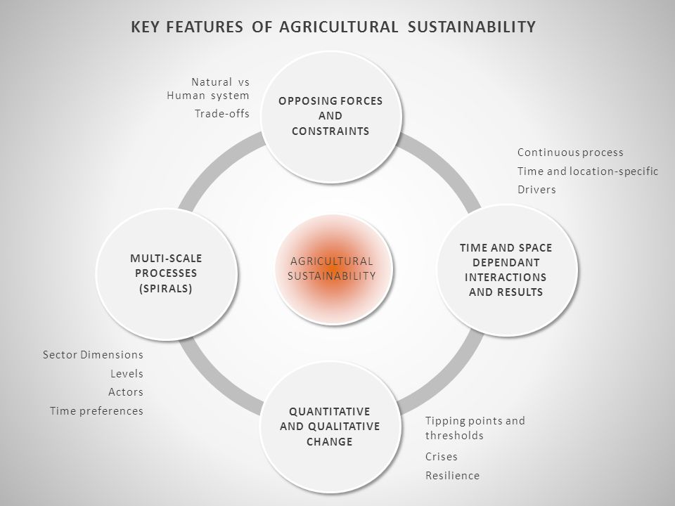 KEY FEATURES OF AGRICULTURAL SUSTAINABILITY AGRICULTURAL SUSTAINABILITY Sector Dimensions Levels Actors Time preferences MULTI-SCALE PROCESSES (SPIRALS) OPPOSING FORCES AND CONSTRAINTS Natural vs Human system Trade-offs QUANTITATIVE AND QUALITATIVE CHANGE Tipping points and thresholds Crises Resilience Continuous process Time and location-specific Drivers TIME AND SPACE DEPENDANT INTERACTIONS AND RESULTS