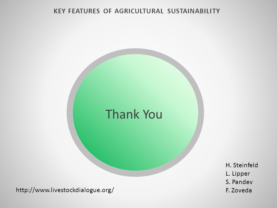 KEY FEATURES OF AGRICULTURAL SUSTAINABILITY http://www.livestockdialogue.org/ H. Steinfeld L. Lipper S. Pandev F. Zoveda Thank You