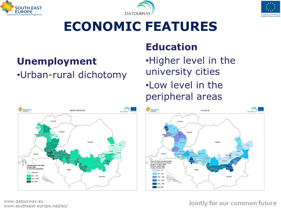 ECONOMIC FEATURES Tourism – status of Danube In Romania, Bulgaria and Croatia the Danube riverside is peripheral Tourism - exploitation The potentials are not fully exploited or they are not used at all