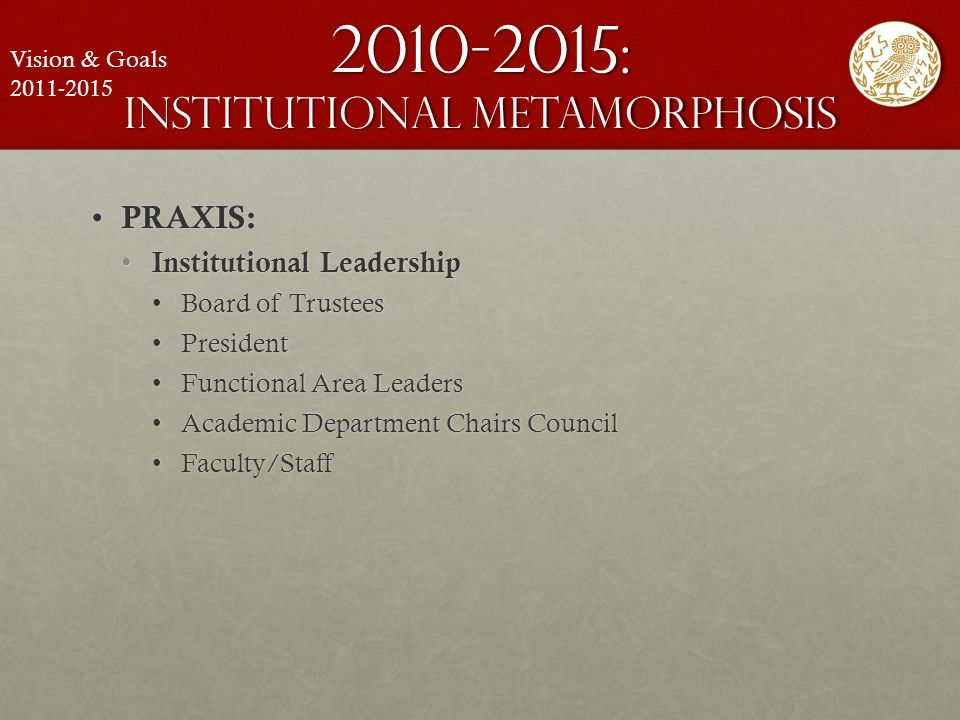 2010-2015: institutional metamorphosis PRAXIS: PRAXIS: Institutional Leadership Institutional Leadership Board of TrusteesBoard of Trustees PresidentP