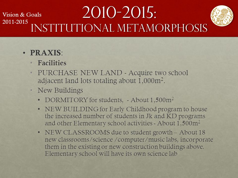 2010-2015: institutional metamorphosis PRAXIS : PRAXIS : Facilities Facilities PURCHASE NEW LAND - Acquire two school adjacent land lots totaling abou