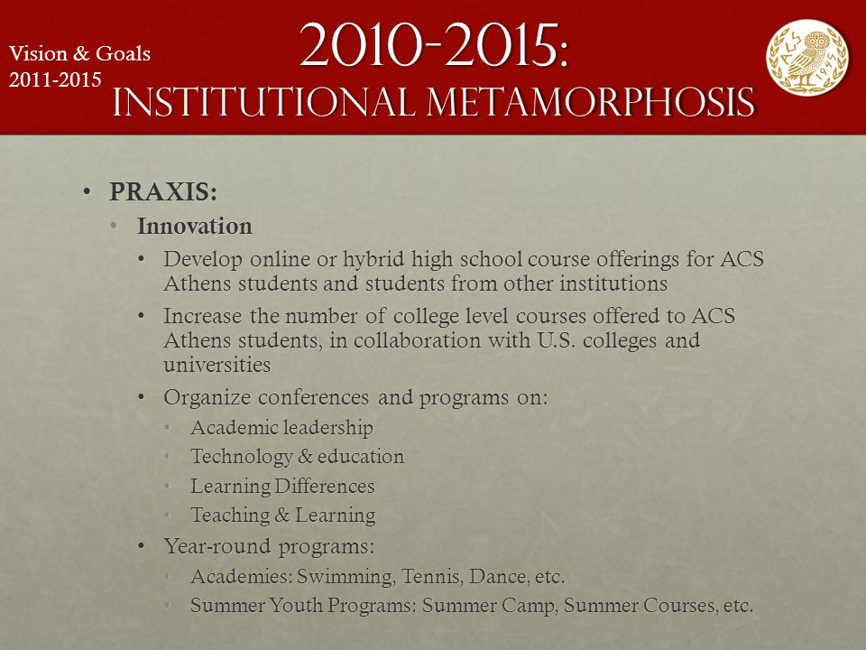 2010-2015: institutional metamorphosis PRAXIS: PRAXIS: Innovation Innovation Develop online or hybrid high school course offerings for ACS Athens stud