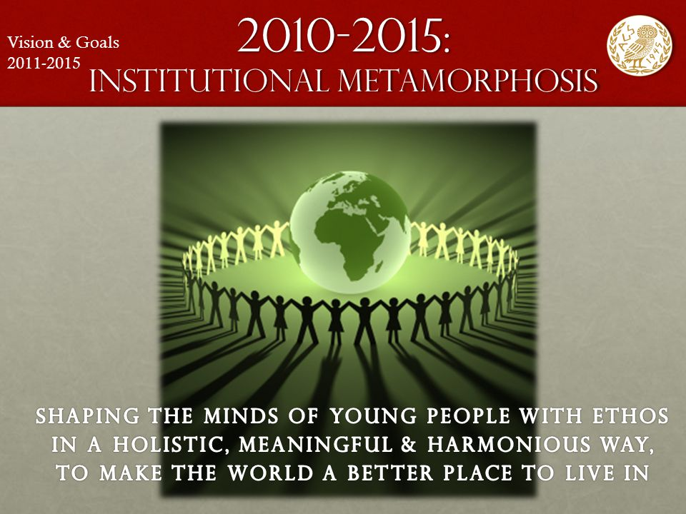 2010-2015: institutional metamorphosis Vision & Goals 2011-2015