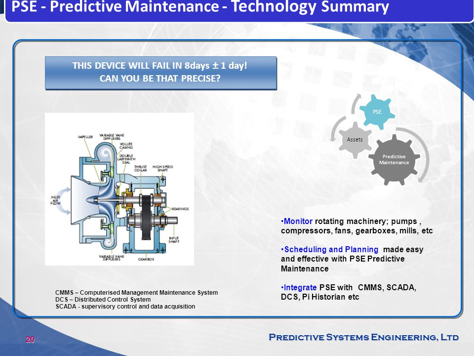 20 Predictive Systems Engineering, Ltd PSE - Predictive Maintenance - Technology Summary THIS DEVICE WILL FAIL IN 8days ± 1 day! CAN YOU BE THAT PRECI