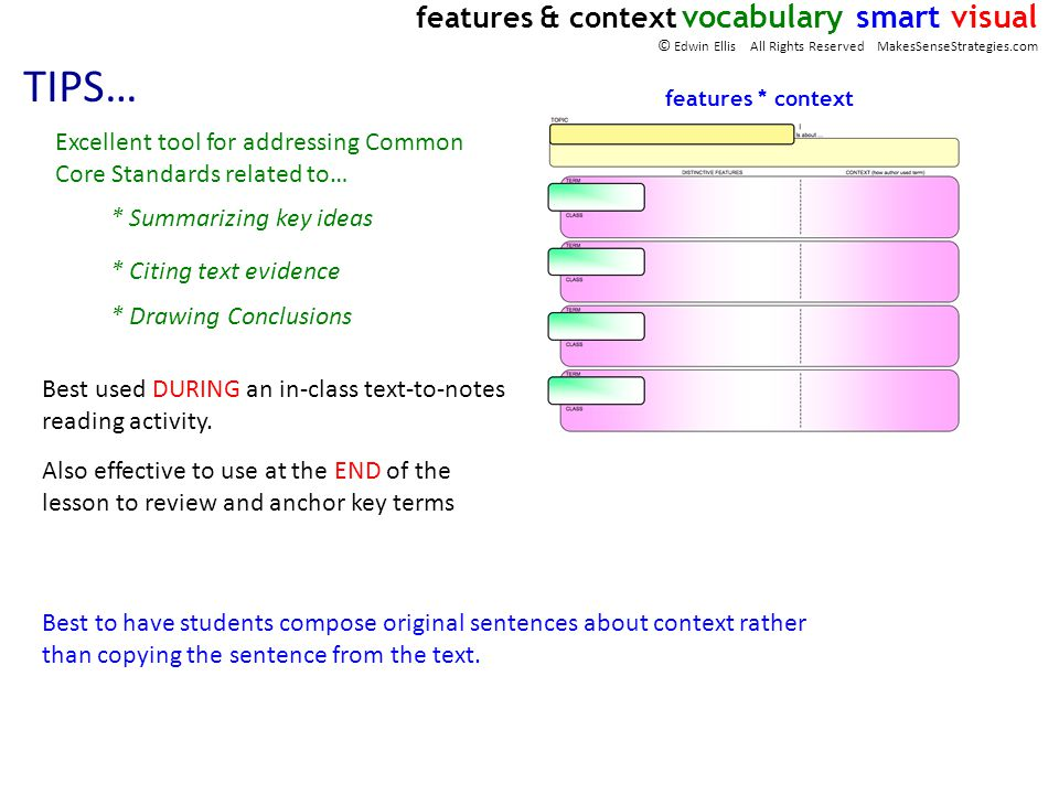 TIPS… Best used DURING an in-class text-to-notes reading activity. features * context Best to have students compose original sentences about context r