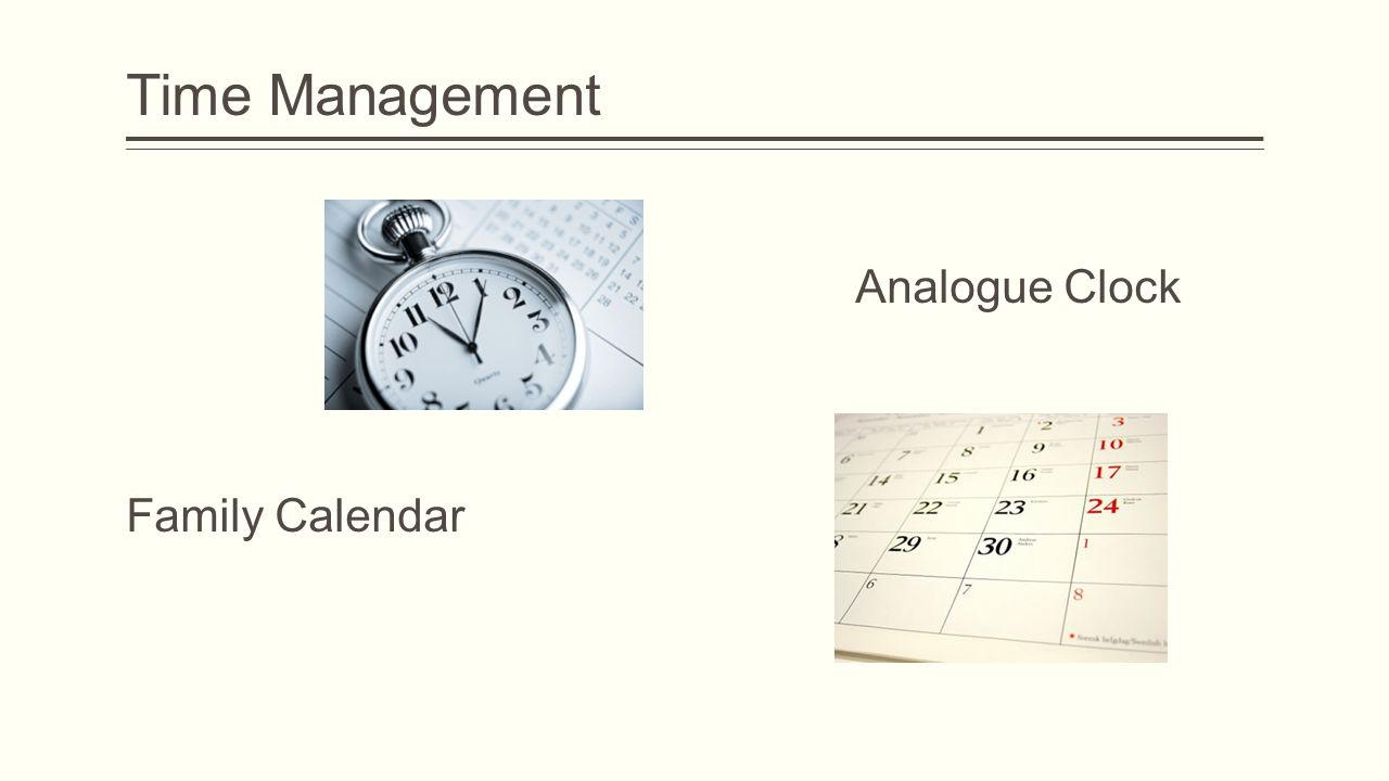 Time Management Analogue Clock Family Calendar