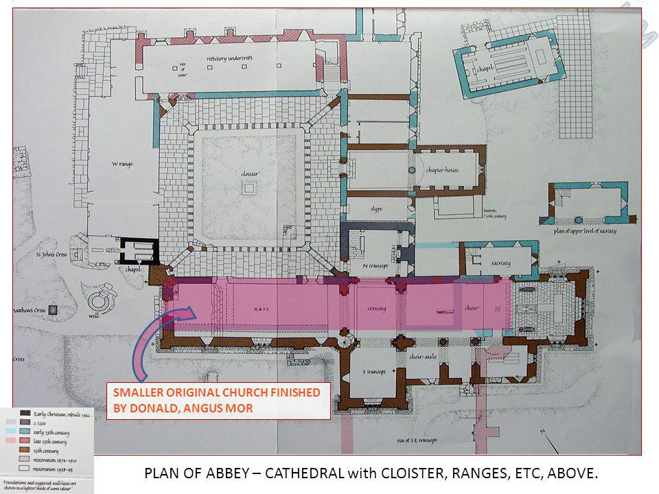 SMALLER ORIGINAL CHURCH FINISHED BY DONALD, ANGUS MOR PLAN OF ABBEY – CATHEDRAL with CLOISTER, RANGES, ETC, ABOVE.