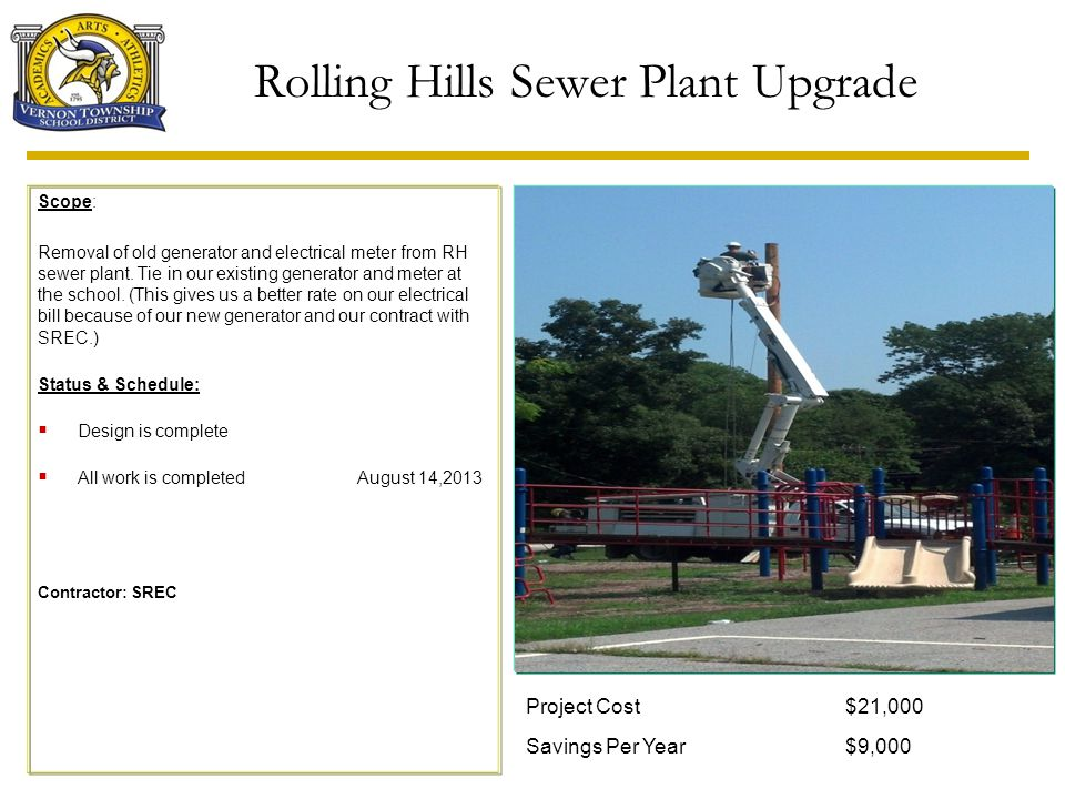 Rolling Hills Sewer Plant Upgrade Scope: Removal of old generator and electrical meter from RH sewer plant. Tie in our existing generator and meter at