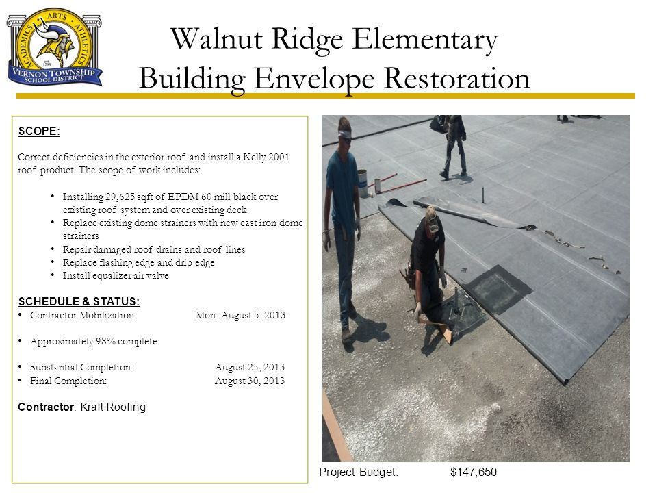 Walnut Ridge Elementary Building Envelope Restoration Project Budget:$147,650 SCOPE: Correct deficiencies in the exterior roof and install a Kelly 200