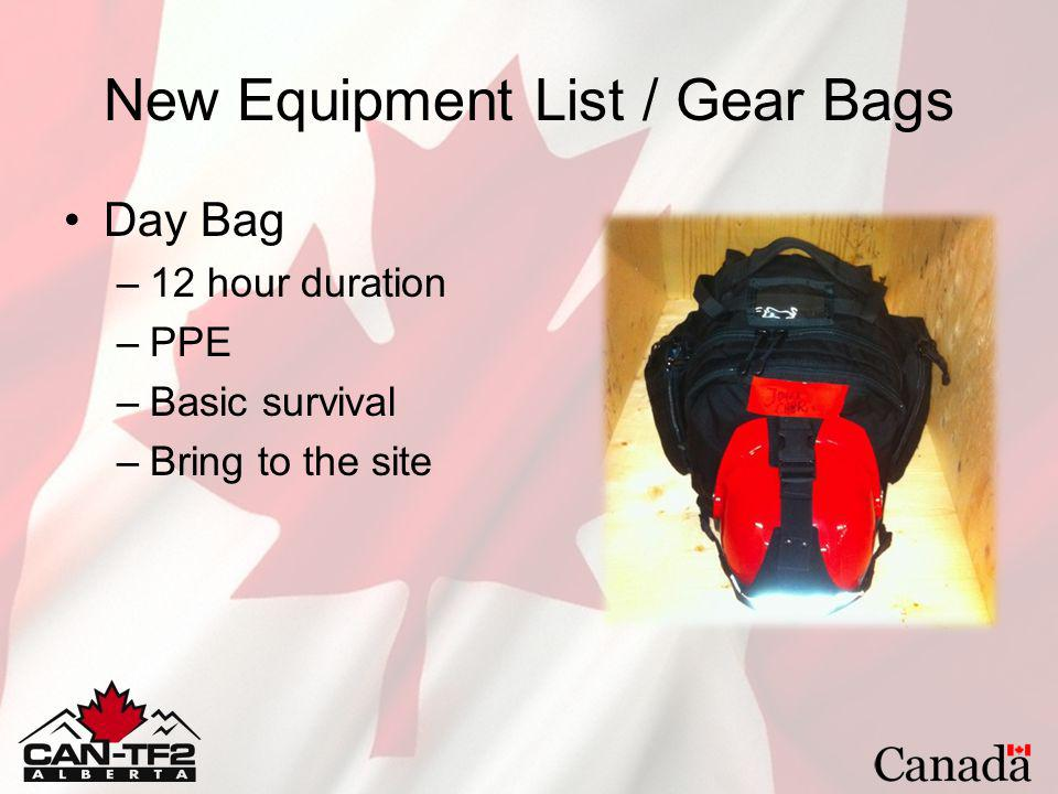 New Equipment List / Gear Bags Day Bag –12 hour duration –PPE –Basic survival –Bring to the site