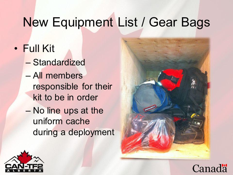 New Equipment List / Gear Bags Full Kit –Standardized –All members responsible for their kit to be in order –No line ups at the uniform cache during a deployment