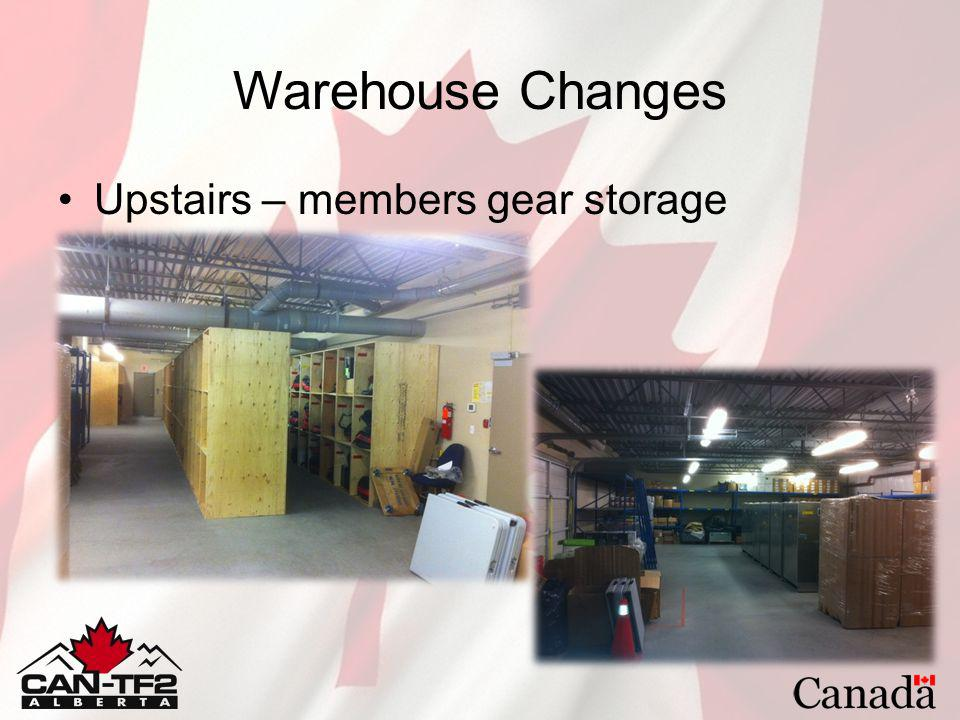 Warehouse Changes Upstairs – members gear storage