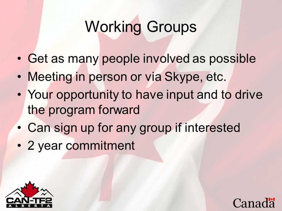 Working Groups Get as many people involved as possible Meeting in person or via Skype, etc. Your opportunity to have input and to drive the program fo