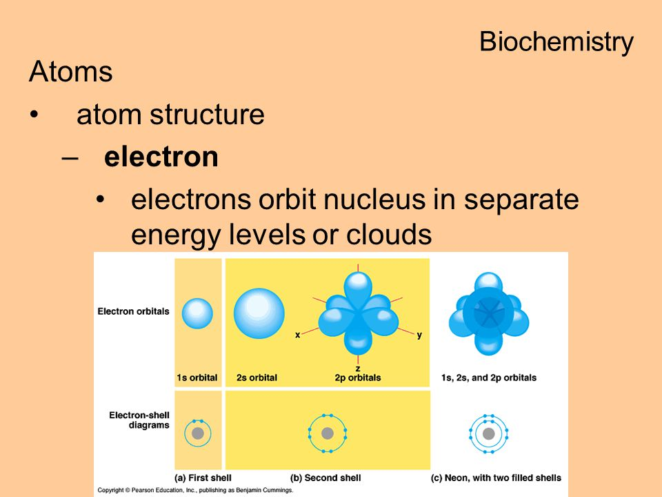 Atoms atom structure –electron electrons orbit nucleus in separate energy levels or clouds Biochemistry