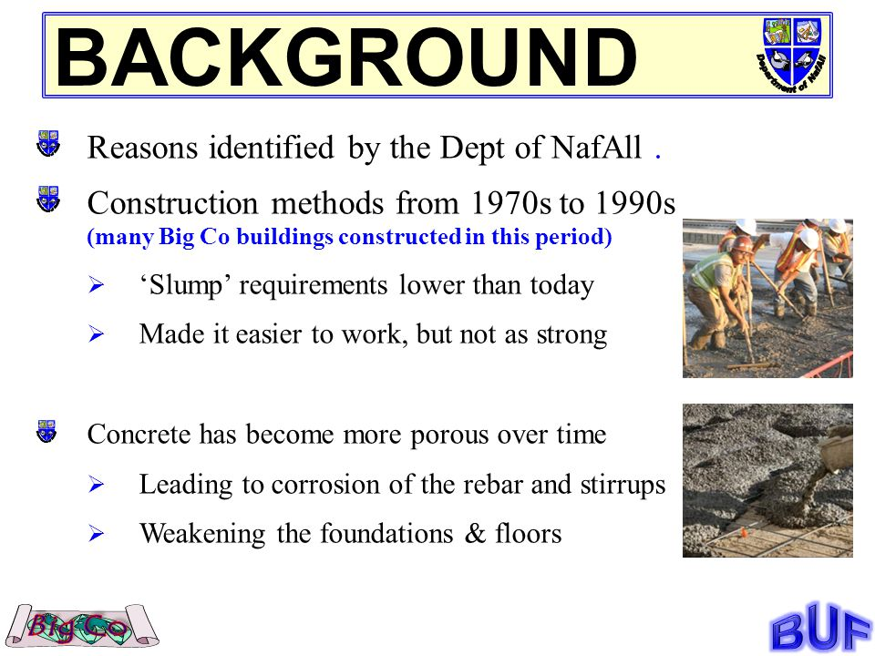 Reasons identified by the Dept of NafAll.