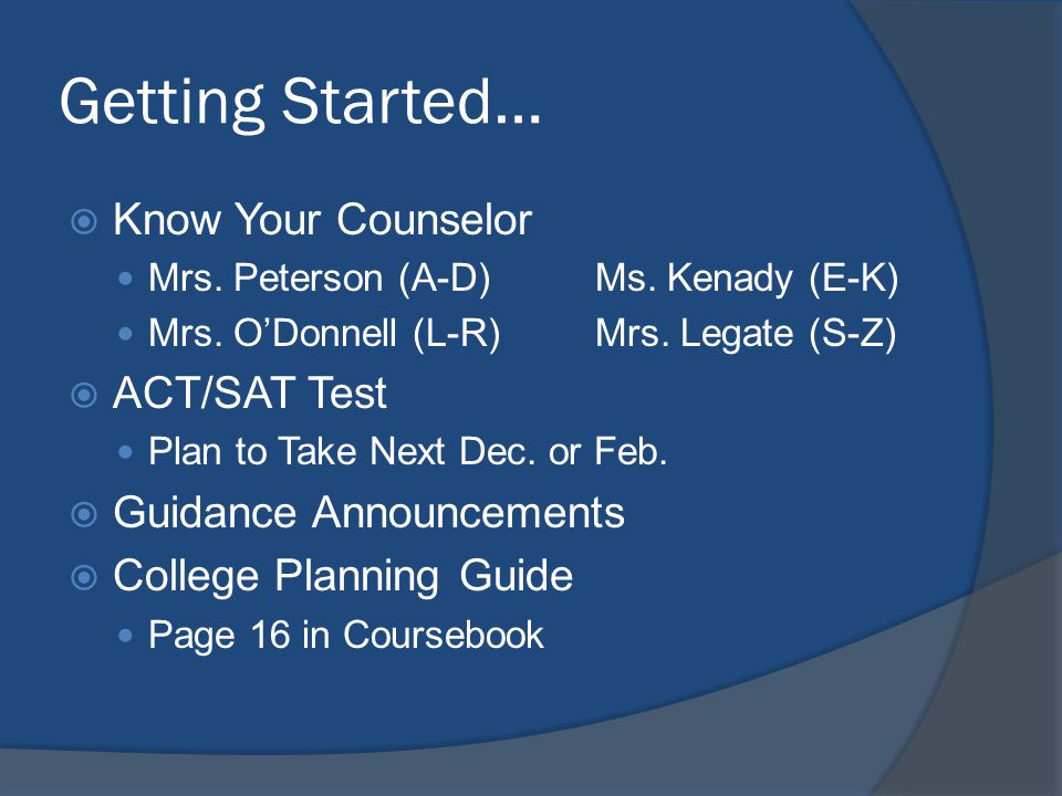 Getting Started… Know Your Counselor Mrs. Peterson (A-D)Ms.