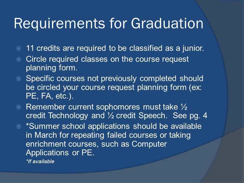 Requirements for Graduation 11 credits are required to be classified as a junior.