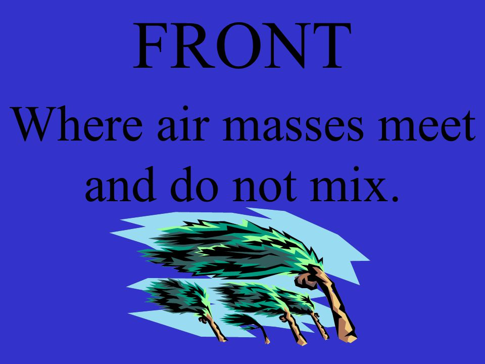 FRONT Where air masses meet and do not mix.