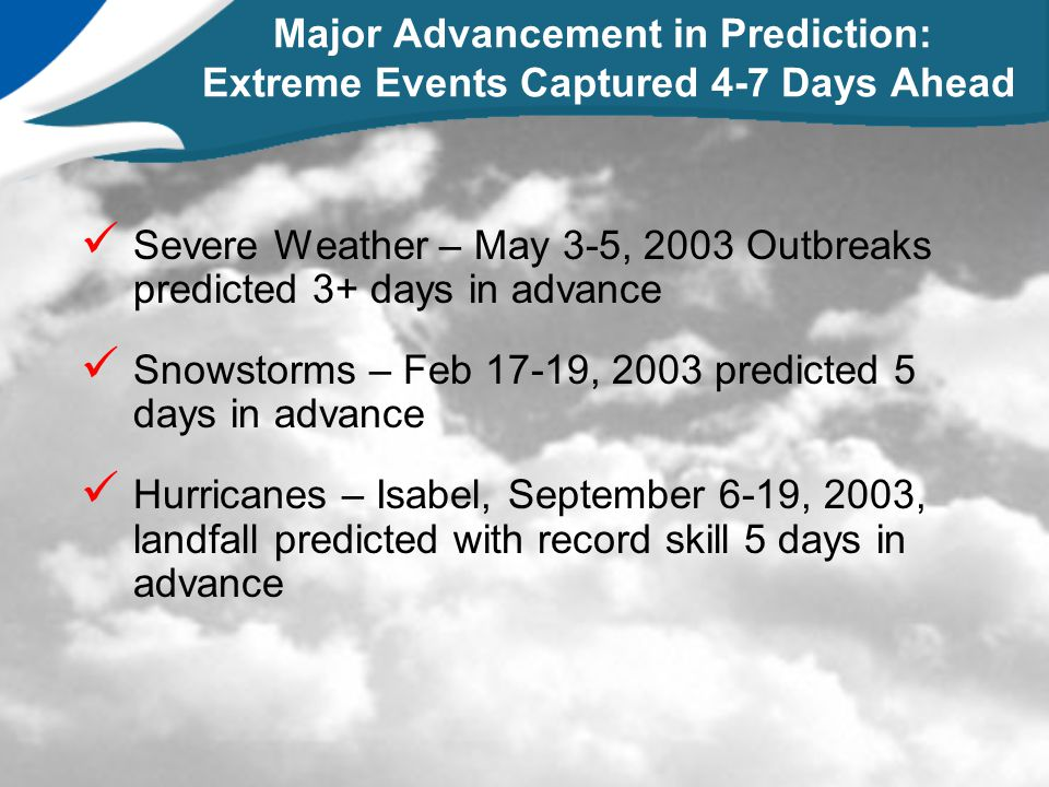 Major Advancement in Prediction: Extreme Events Captured 4-7 Days Ahead Severe Weather – May 3-5, 2003 Outbreaks predicted 3+ days in advance Snowstor