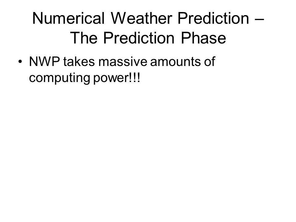 Numerical Weather Prediction – The Prediction Phase NWP takes massive amounts of computing power!!!