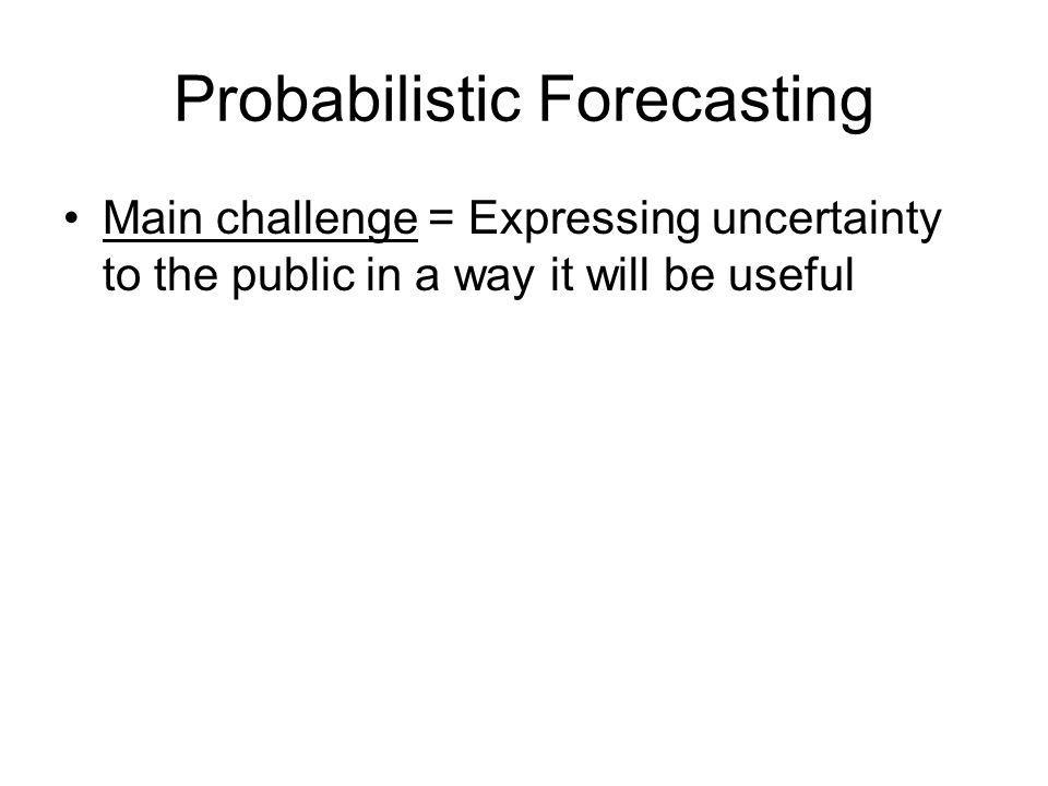 Probabilistic Forecasting Main challenge = Expressing uncertainty to the public in a way it will be useful