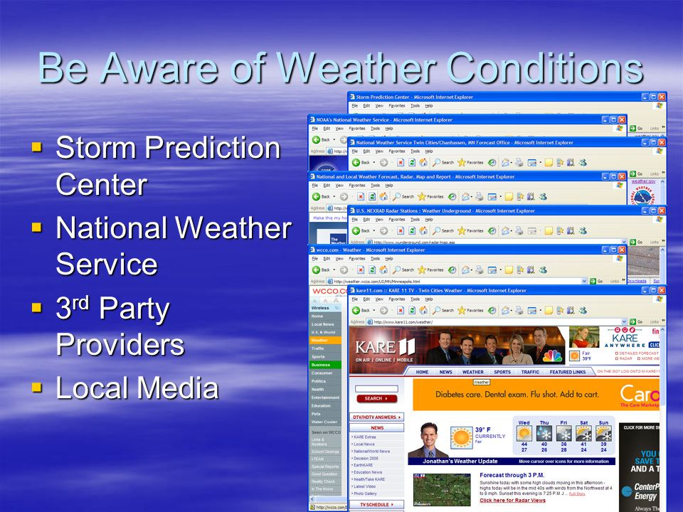 Be Aware of Weather Conditions Storm Prediction Center Storm Prediction Center National Weather Service National Weather Service 3 rd Party Providers 3 rd Party Providers Local Media Local Media