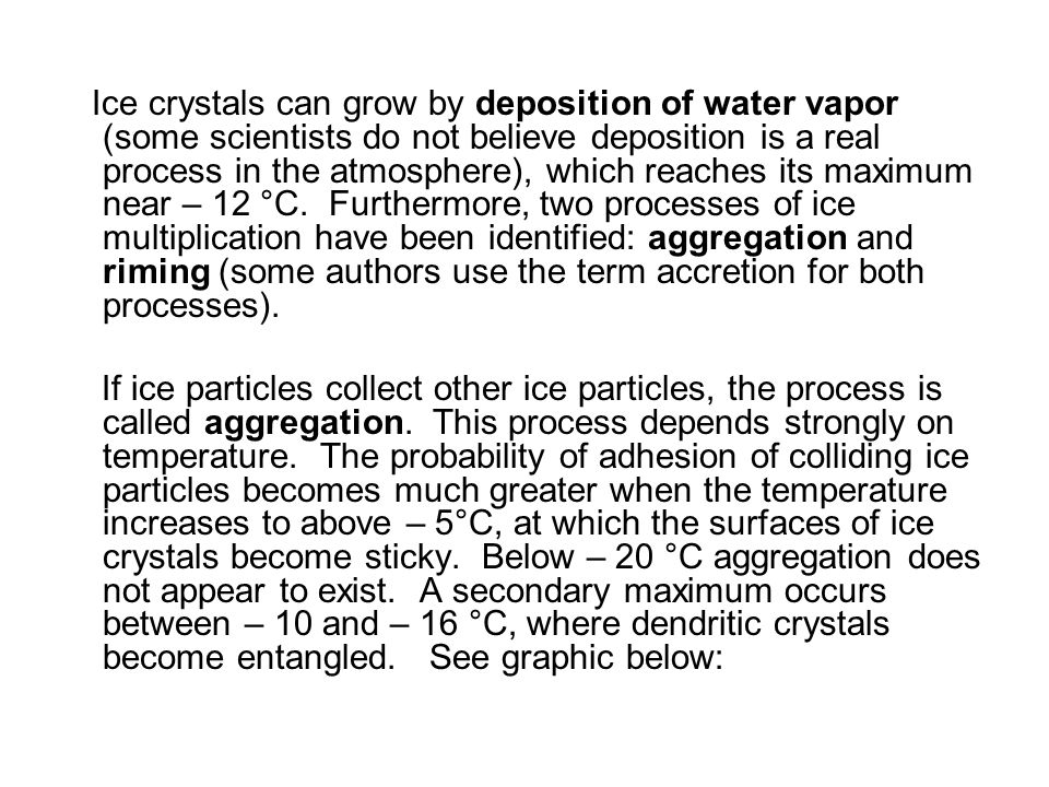 Ice crystals can grow by deposition of water vapor (some scientists do not believe deposition is a real process in the atmosphere), which reaches its