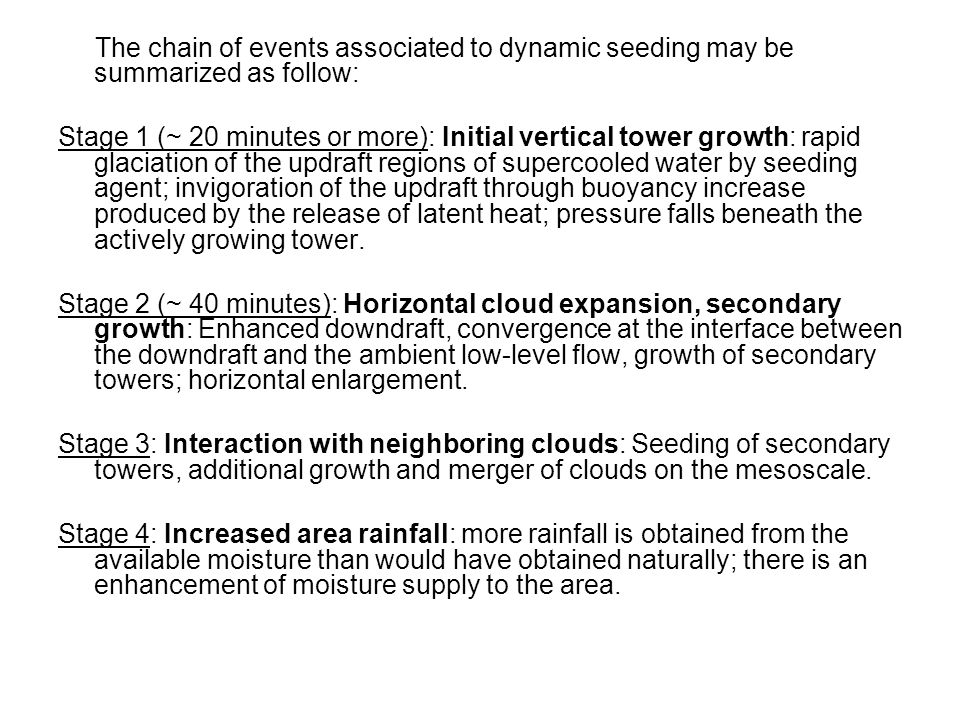 The chain of events associated to dynamic seeding may be summarized as follow: Stage 1 (~ 20 minutes or more): Initial vertical tower growth: rapid gl