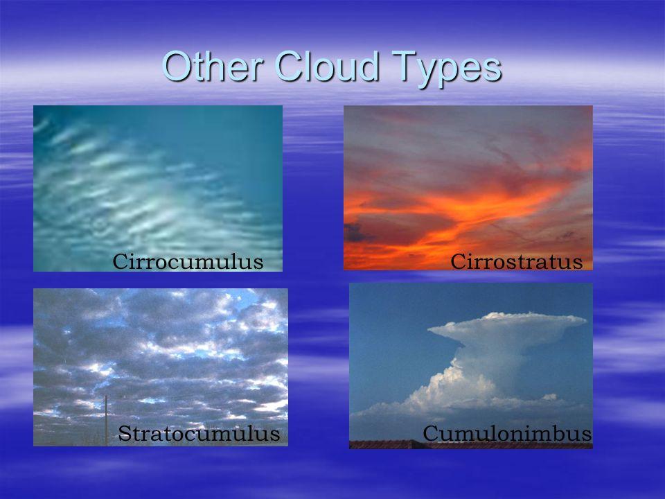 Other Cloud Types CirrocumulusCirrostratus StratocumulusCumulonimbus
