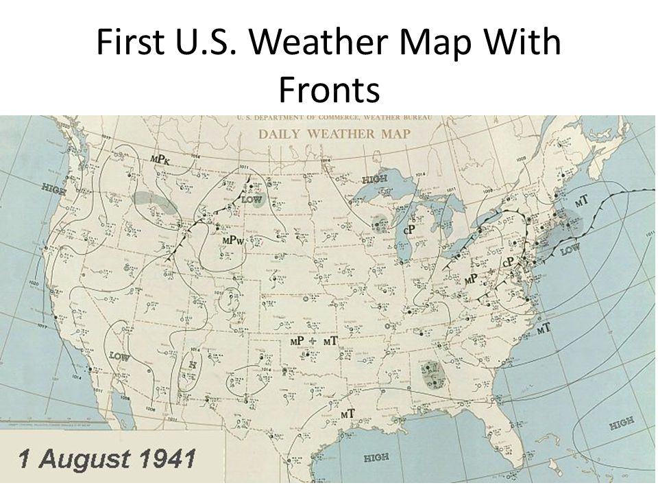 First U.S. Weather Map With Fronts