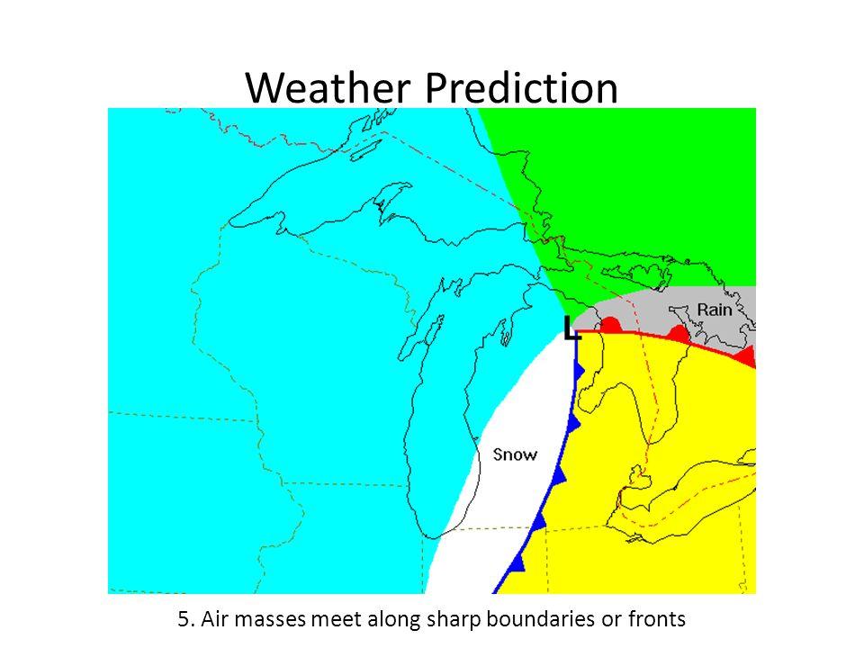 Weather Prediction 5. Air masses meet along sharp boundaries or fronts